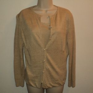 Lafayette 148 PS Sweater Twin Set Beige 100% Linen